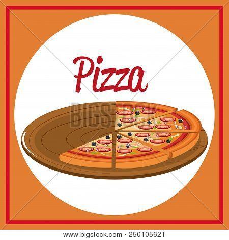 Delicious Italian Pizza In Carton Tray Vector Illustration Design