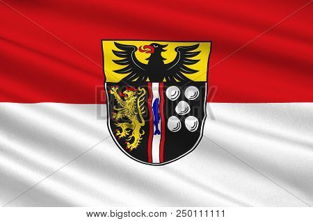 Flag Of Kaiserslautern Is A District In The South Of Rhineland-palatinate, Germany. 3d Illustration