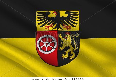 Flag Of Mainz-bingen Is A District In The East Of Rhineland-palatinate, Germany. 3d Illustration