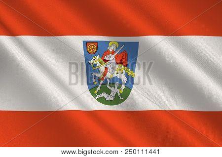 Flag Of Bingen Am Rhein Is A Town In The Mainz-bingen District In Rhineland-palatinate, Germany. 3d