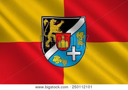 Flag Of Suedliche Weinstrasse Is A District In The South Of Rhineland-palatinate, Germany. 3d Illust