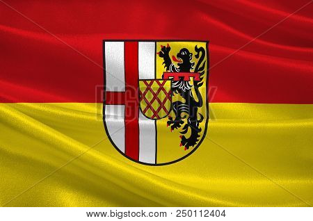 Flag Of Vulkaneifel Is A District In The Northwest Of The State Rhineland-palatinate, Germany. 3d Il