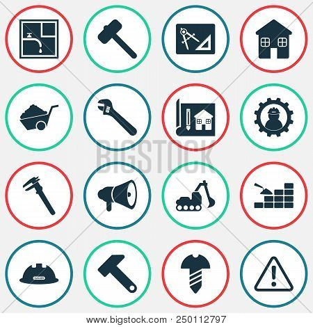 Construction Icons Set With Construction Helmet, Drawing With Adaption, Excavator And Other Plumber