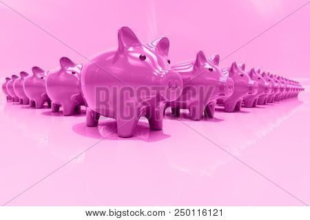 3d Piggy Bank Concept, Money Savings, Finance, Money Box, Budget,  Investments, Savings Account, Sal