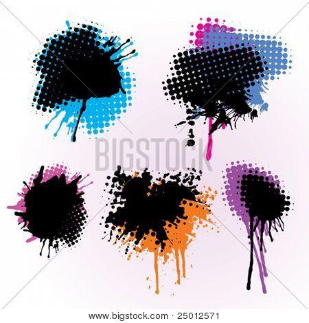 Set Of Colorful Grunge Splashes
