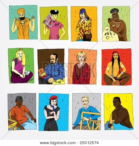 Set of Hand Drawn People of Different Professions and Nationalities