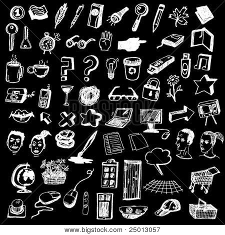 Huge Set of Cute Internet Icons Hand Drawn