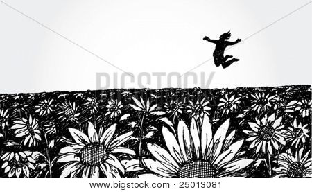 Hand Drawn Flower Field with Jumping Man