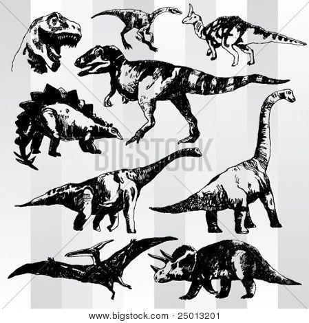 Set of Dinosaurs Hand Drawn
