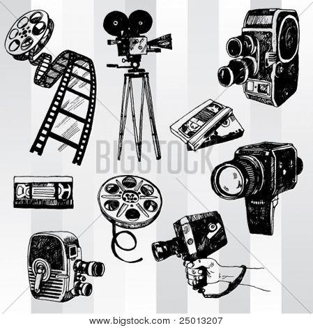 Hand Drawn Retro Cinema Set