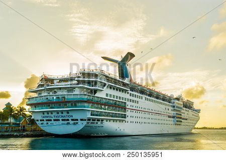 Nassau, Bahamas - December 02 2015: Carnival Fascination Cruise Ship Docked In Nassau Cruise Port.