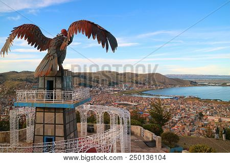 Lake Titicaca And The City Of Puno As Seen From Condor Hill View Point Or Mirador De Kuntur Wasi, Pu