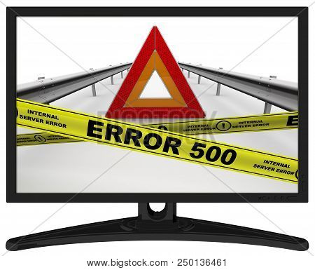 Error 500 (internal Server Error). The Message In The Monitor. Emergency Stop Sign Of A Vehicle On T