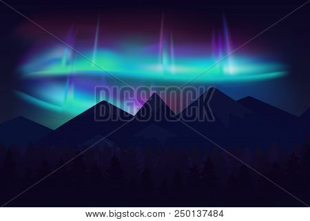 Vector Beautiful Northern Lights Aurora Borealis In Night Sky Over Cartoon Mountains
