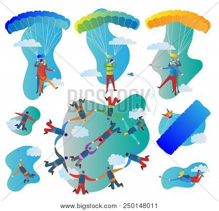 Skydiving vector illustration set. Collection of solo, tandem and formation group flights. Pilot with passenger, harness, parachute and gopro stick. Extreme sport with adrenaline, risk and danger poster