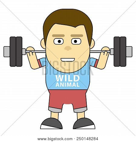 Character In Training. Build Your Bady. 2d Flat Illustration For The Wide Range Of Explaining, Motiv