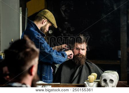 Hipster Client Getting Haircut. Haircut Concept. Barber Styling Hair Of Brutal Bearded Client With C