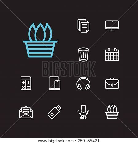 Workspace Icons Set. Case And Workspace Icons With Mail, Flower Pot And Trash Bin. Set Of Tech For W