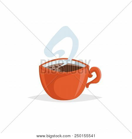 Cartoon Style Cup With Hot Coffee. Trendy  Decorative Design. Great For Cafe Menu. Red Mug With Stea