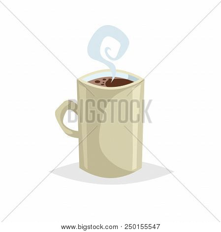 Cartoon Style Cup With Hot Drink. Coffee Or Tea. Trendy  Decorative Design. Great For Cafe Menu. Bei
