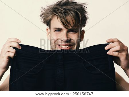 Guy With Happy Face Isolated On Light Grey Background. Fashion And Size Concept. Athlete With Messy