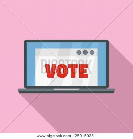 Online Vote Icon. Flat Illustration Of Online Vote Vector Icon For Web Design