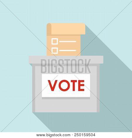 Vote Election Box Icon. Flat Illustration Of Vote Election Box Vector Icon For Web Design