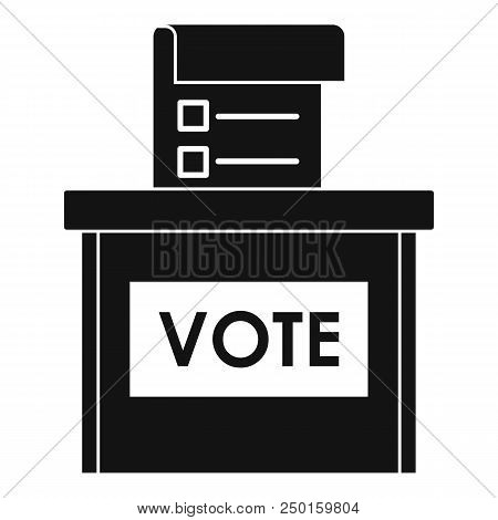 Vote Election Box Icon. Simple Illustration Of Vote Election Box Vector Icon For Web Design Isolated