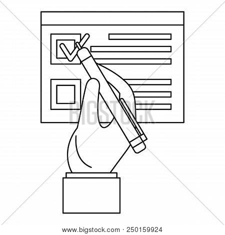 Vote Sign Paper Icon. Outline Vote Sign Paper Vector Icon For Web Design Isolated On White Backgroun