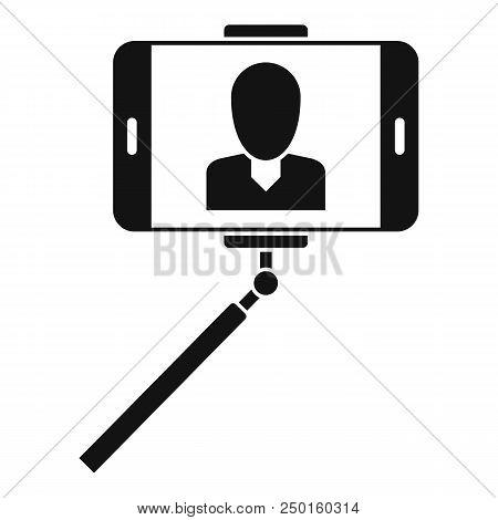 Man Take Selfie Monopod Icon. Simple Illustration Of Man Take Selfie Monopod Vector Icon For Web Des