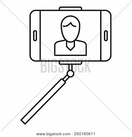 Man Take Selfie Monopod Icon. Outline Man Take Selfie Monopod Vector Icon For Web Design Isolated On