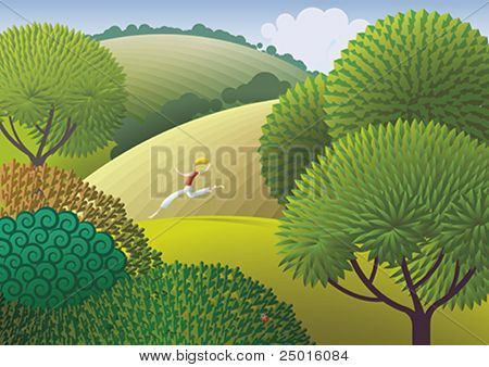 A person easy running outdoor. Green nature - healthy life.