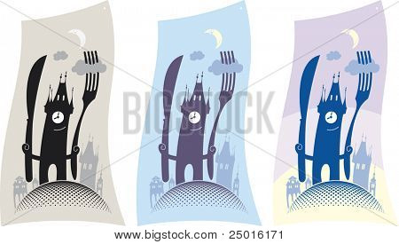 The old town tower invites to a restaurant for a dinner. Vector design.