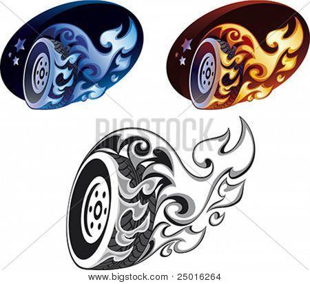Three versions a flaming wheel.