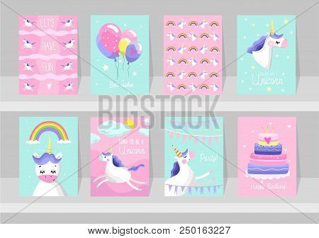 Big Set Of Cute Unicorn Cards. Motivational And Inspirational Posters With Unicorns. Born To Be A Un