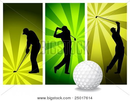 Vector Golf Players. Easy Change Colors. (Check out my portfolio for other silhouettes)