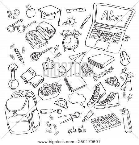 School Clipart Vector Doodle School Icons Symbols Back To School Background Sketch Drawing Hand Whit