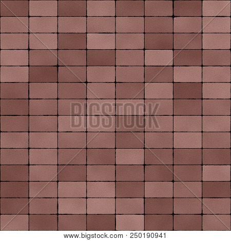 Road paved with dull red clay brick seamless texture, computer generated backgound.