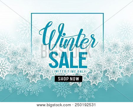 Winter Sale Vector Banner With  White Snowflakes Elements And Winter Sale Text In Blue Snow Backgrou