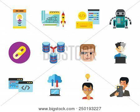 Information Technology Icon Set. Robot Database Hyperlink Programmer Programming Prototype Interface