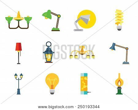 Lamp Icon Set. Heating Lamp Chandelier Desk Light Floor Lamp Fluorescent Light Lightbulb Kerosene La