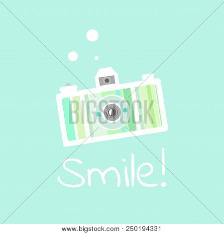 Beautiful Flat Lomo Creative Camera Of Green And Yellow Colors With Word Smile. Isolated On Turquois