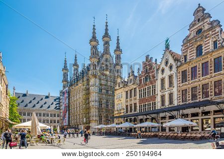 Leuven,belgium - May 17,2018 - At The Grote Markt Place Of Leuven. Leuven Is Located About 25 Kilome