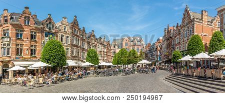 Leuven,belgium - May 17,2018 - At The Oude Markt Place Of Leuven. Leuven Is Located About 25 Kilomet