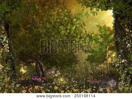An Opening In An Enchanting Fairy Forest, Ground Covered With Magical Daisy Flowers, 3d Render Paint