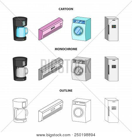 Home Appliances And Equipment Cartoon, Outline, Monochrome Icons In Set Collection For Design.modern