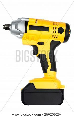 Electric impact wrench isolated on white background. Electric wrench black and yellow handle tool. wrench gun tool. Electric wrench for industrial design. Pneumatic impact wrench gun. poster