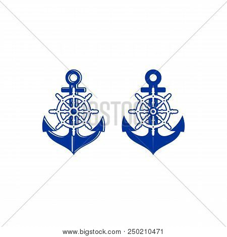 Ship Steering Wheel And Anchor Navigation Symbol Stock Vector - Illustration Of Icon, Design