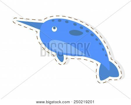 Cute funny blue whale with tusk or narwhal vector flat cartoon sticker or icon outlined with dotted line isolated on white. Northern aquatic mammal animal illustration for game counters, price tags poster