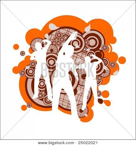 white silhouette of people dancing on abstract circle background - vector- orange